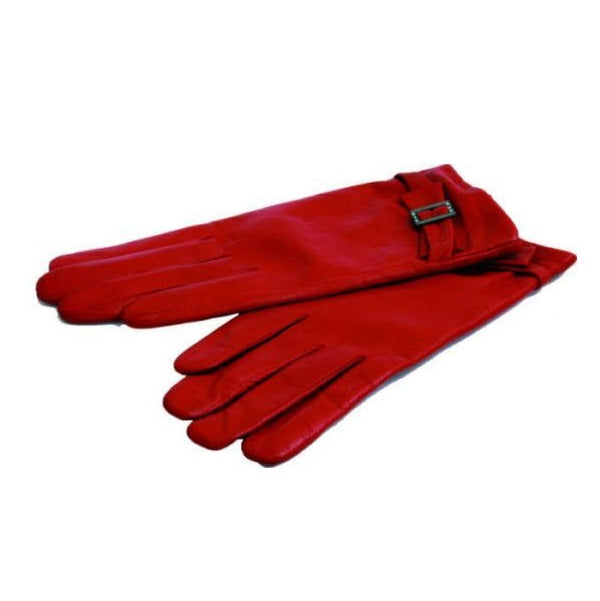 Avenue Leather Gloves With Buckle Trim Red