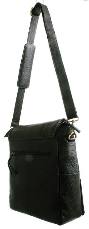 Avenue Messenger Bag A4 Milled Buff Leather Black