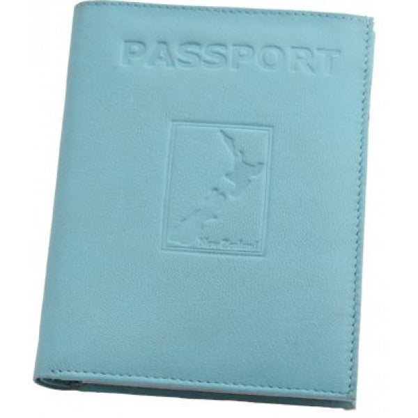 Map Leather Passport Wallet Aqua
