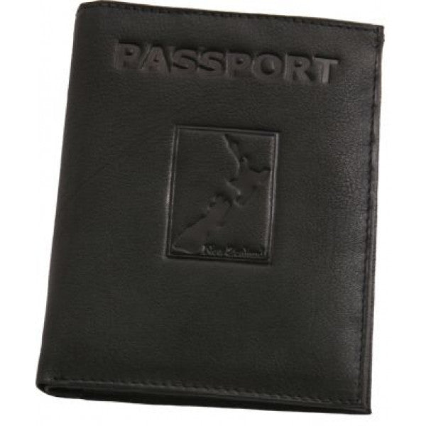 Map Leather Passport Wallet Black