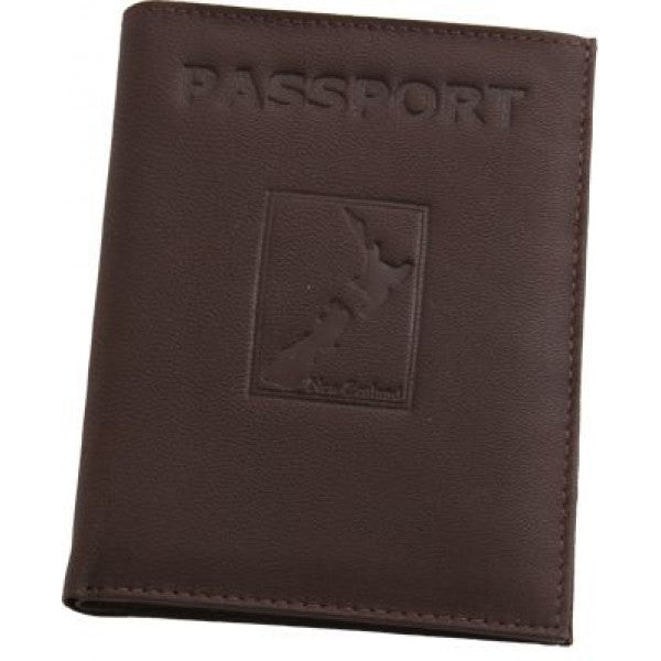 Map Leather Passport Wallet Brown