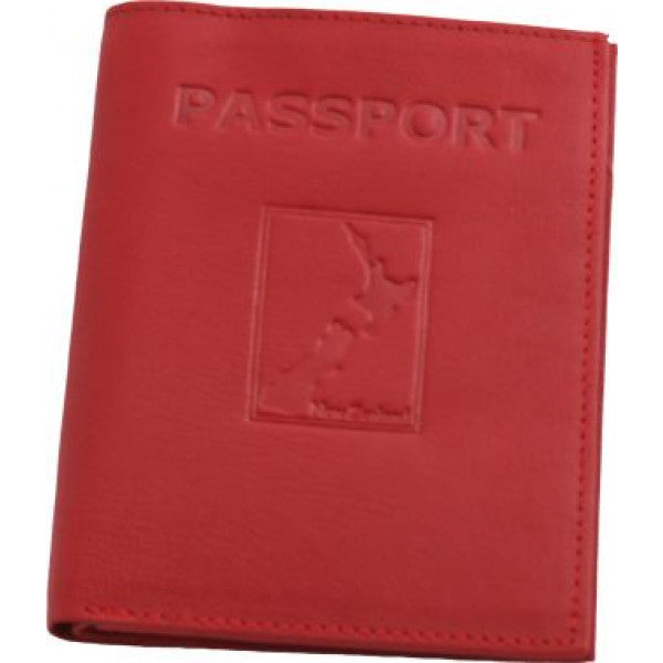 Map Leather Passport Wallet Red