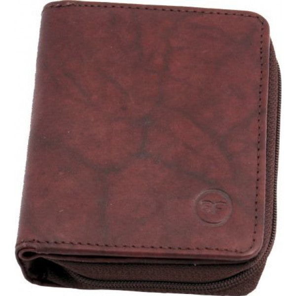 Rainbow Collection Leather Zip Wallet Bordo