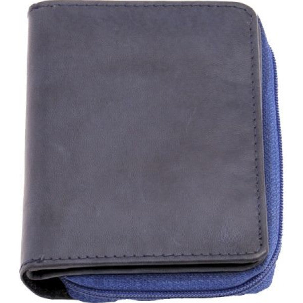Rainbow Collection Leather Zip Wallet Blue