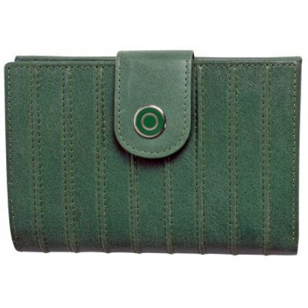 Avenue Ladies Leather Wallet Ridged Sage Green