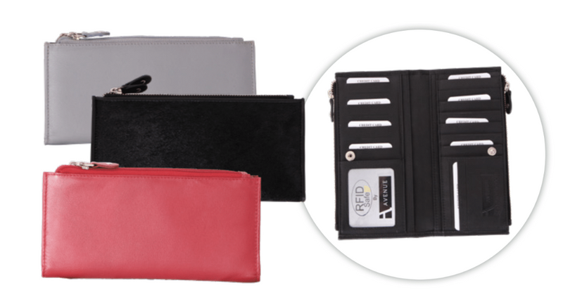 Avenue Leather Slim Zip Purse Hide