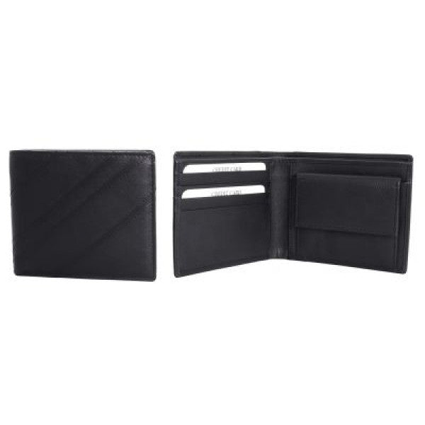 Avenue Mens 'Angolare' Leather Wallet Black