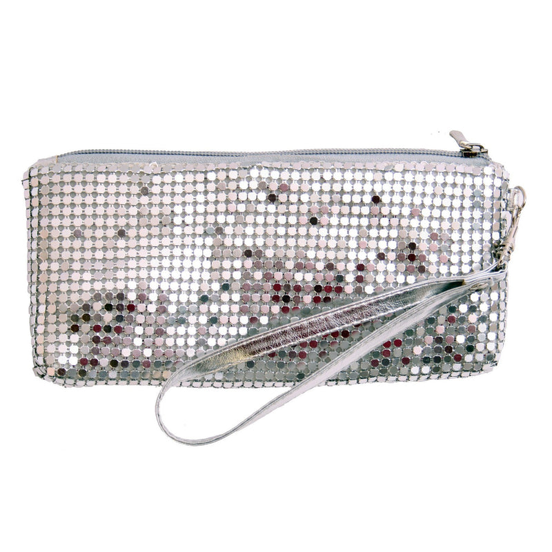 Platinum Small Mesh Clutch/silver