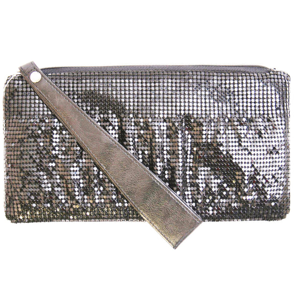 Platinum Pleated Mesh Clutch Silver