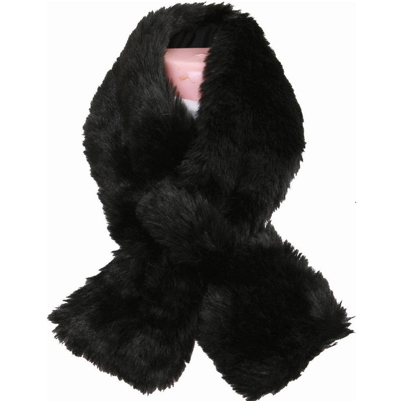 Aux Fur Scarf/Satin Lined/Black