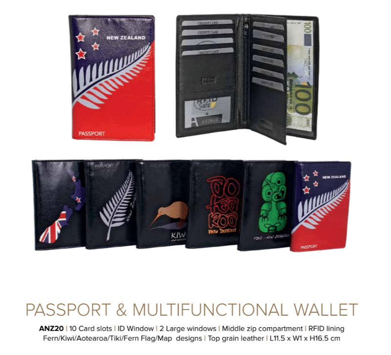 Avenue Leather Souvenir Passport Wallet Rfid Lined Fern Flag