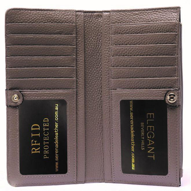 Serenade Faith Elegant Large Leather Wallet Mushroom