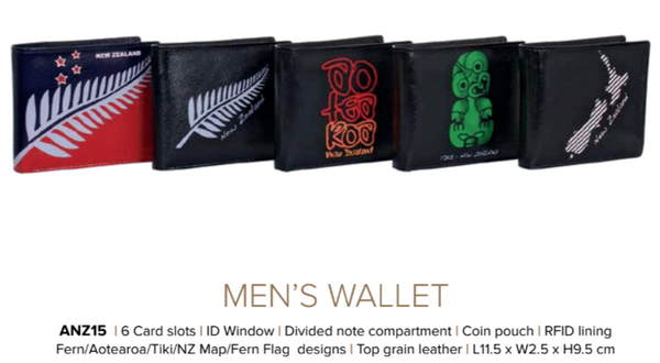 Avenue Leather Souvenir Mens Wallet Rfid Lined Aotearoa