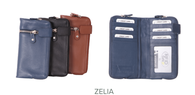 Avenue Zelia 'ZED' Leather Large Wallet Cognac