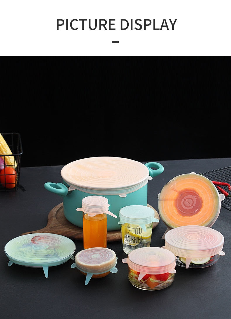 WORTHBUY 6 Pcs/Set Food Silicone Cover Cap