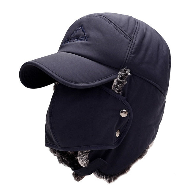 Bomber Hats Warm Plush Ear Flaps Breathable Mask Neck Thicken Winter Cycle Cap Scarf Set Women Men Warm hat