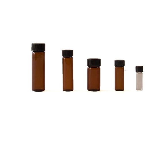 1 dram amber glass vial with black cap