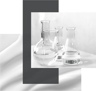 a collage of cream and laboratory beakers science skincare