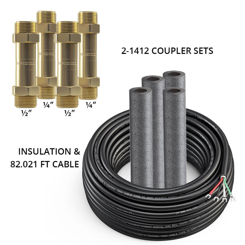 MRCOOL DIY 1/4 & 1/2 Coupler (Two Sets) w/ 75ft of Communication Wire