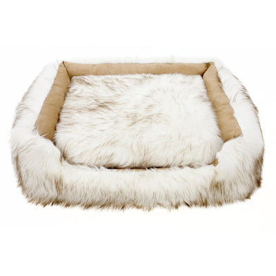 Animals Matter Faux Fur Shag Lounger Ortho White Brown Tip Luxury Dog Bed