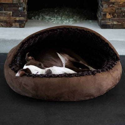 Animals Matter Katie Puff Hooded Luxury Dog Bed Chocolate