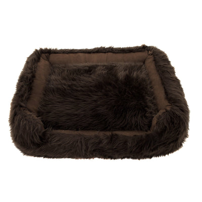 Animals Matter Faux Fur Shag Lounger Ortho Chocolate Luxury Dog Bed