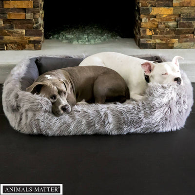 Animals Matter Faux Fur Shag Lounger Orthopedic Gray Luxury Dog Bed Gray