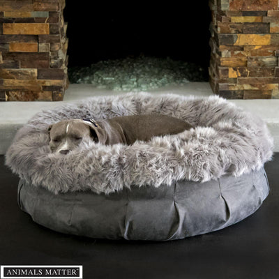 Animals Matter Faux Fur Shag Puff Orthopedic Gray Luxury Dog Bed
