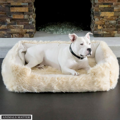 Animals Matter Faux Fur Shag Lounger Ortho Luxury Dog Bed Camel