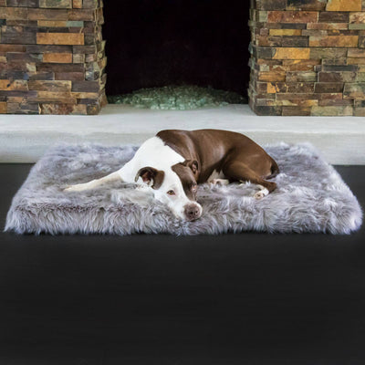 Animals Matter Faux Shag Orthopedic Rectangle Luxury Dog Bed Gray
