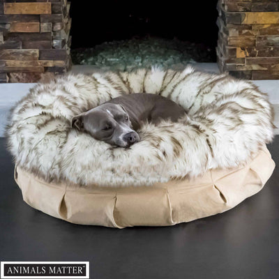 Animals Matter Faux Fur Shag Puff Orthopedic White Brown Tip Luxury Dog Bed