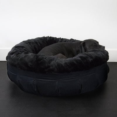 Animals Matter® Daisy Puff™ - Faux Fur Black Mink Orthopedic CertiPur-US Luxury Dog Bed