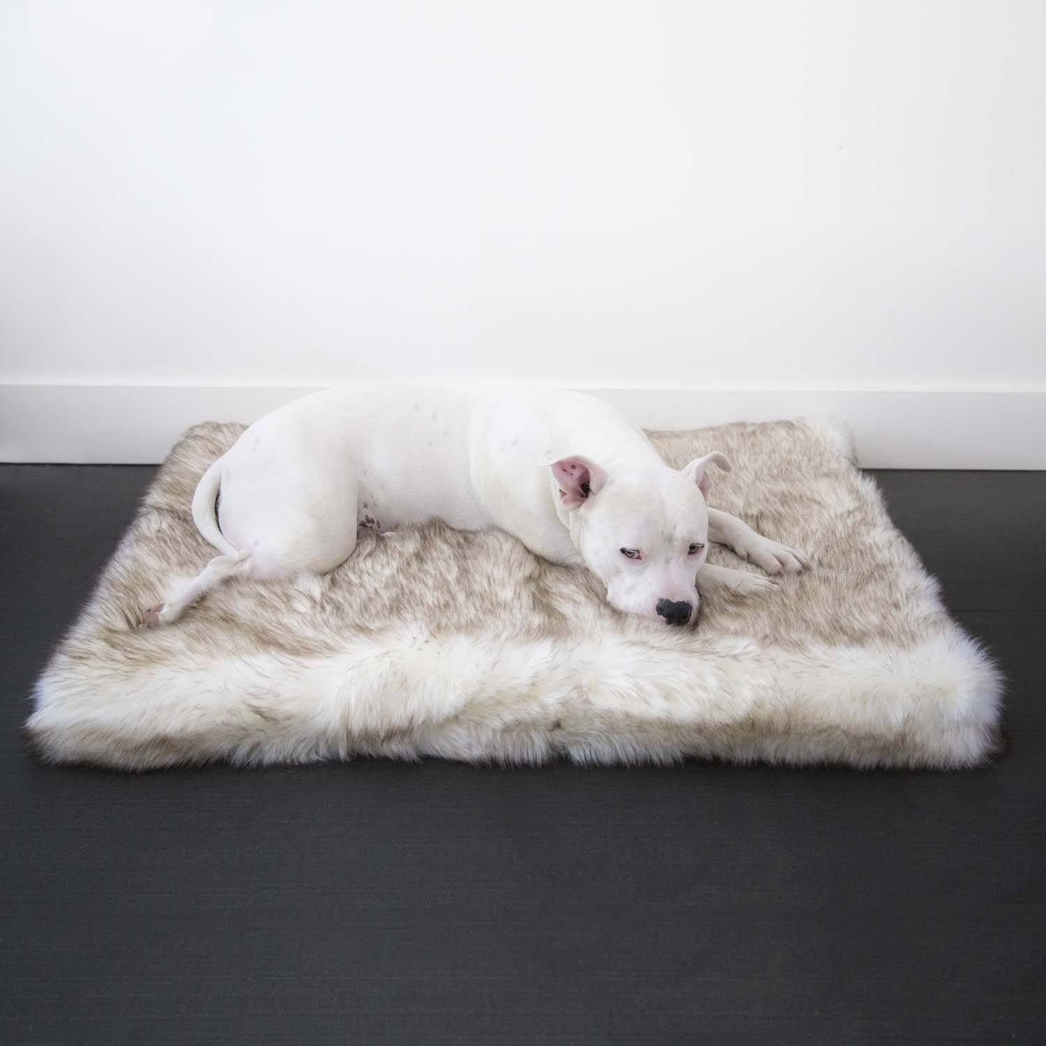 Animals Matter Faux Fur Shag Orthopedic Rectangle-Brown Tip White-Luxury Dog Bed
