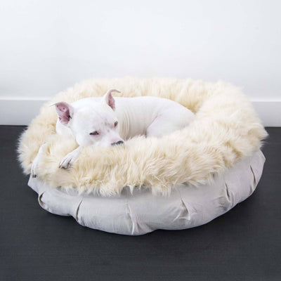 Animals Matter Faux Fur Shag Puff Orthopedic Luxury Dog Bed Camel