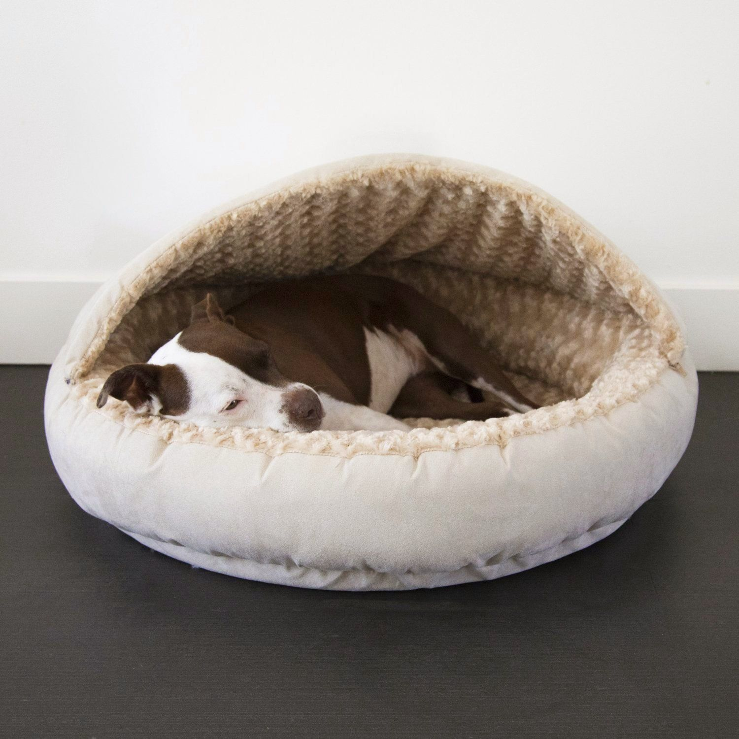 Animals Matter Katie Puff Hooded Luxury Dog Bed Camel