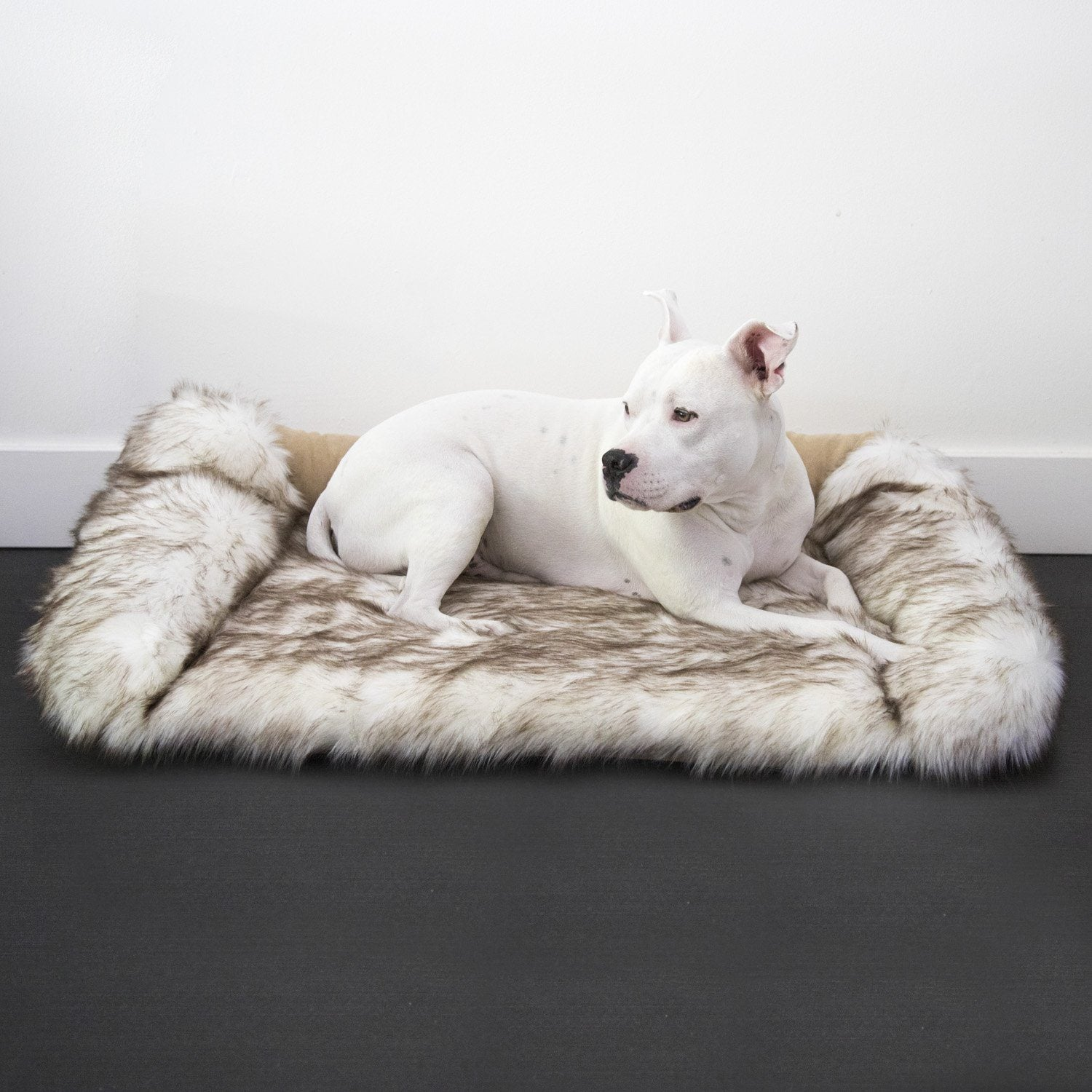 Animals Matter Faux Fur Shag Sydney Orthopedic Luxury Dog Bed Brown Tip White