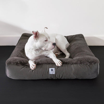 Animals Matter® Ruby Square Orthopedic Luxury Faux Fur Dog Bed Charcoal