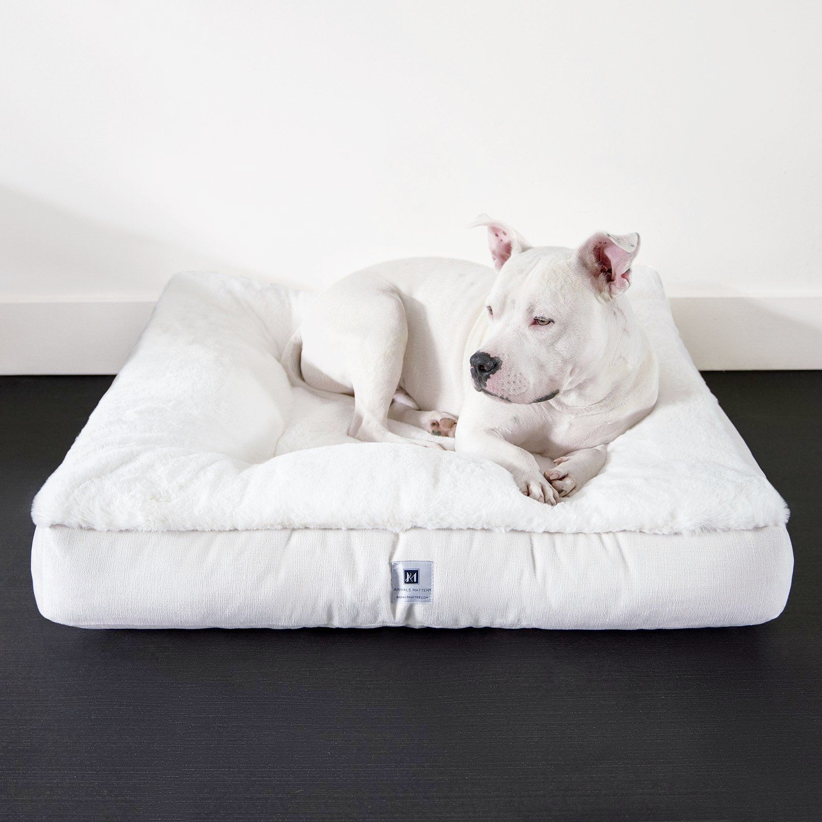 Animals Matter® Ruby Square Orthopedic Luxury Faux Fur Dog Bed Ivory