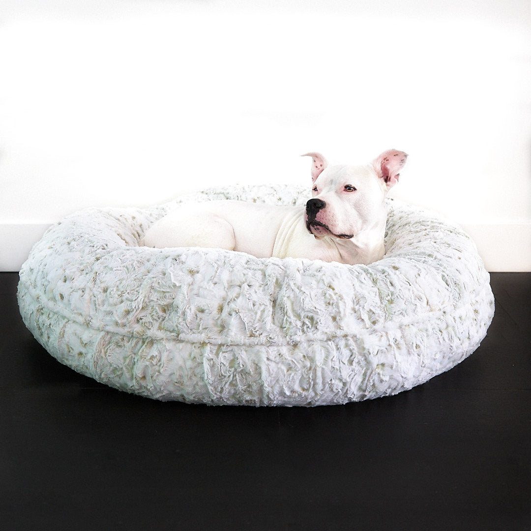 LA Dog Celery Leopard Donut Luxury Dog Bed