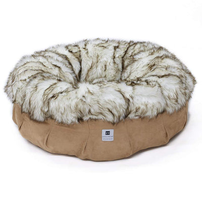 Animals Matter Shag Puff Brown Tip White Luxury Faux Fur Dog Bed
