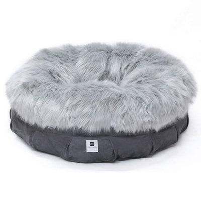 Animals Matter Faux Fur Orthopedic Shag Puff Charcoal Luxury Dog Bed