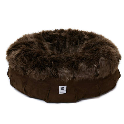 Animals Matter Faux Fur Shag Puff Orthopedic Chocolate Luxury Dog Bed