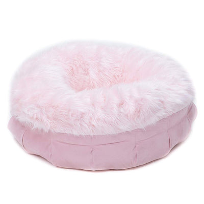 Animals Matter Faux Fur Shag Puff Orthopedic Pink Luxury Dog Bed