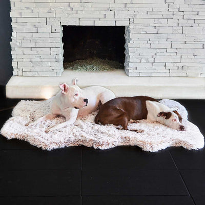 Animals Matter Luxury Faux Fur Orthopedic Snug Rug Bed Frosted Sand