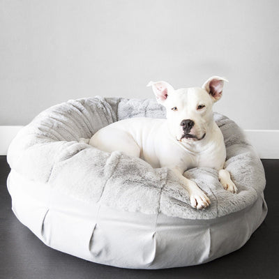 Animals Matter Ruby Puff Orthopedic Luxury Dog Bed light gray