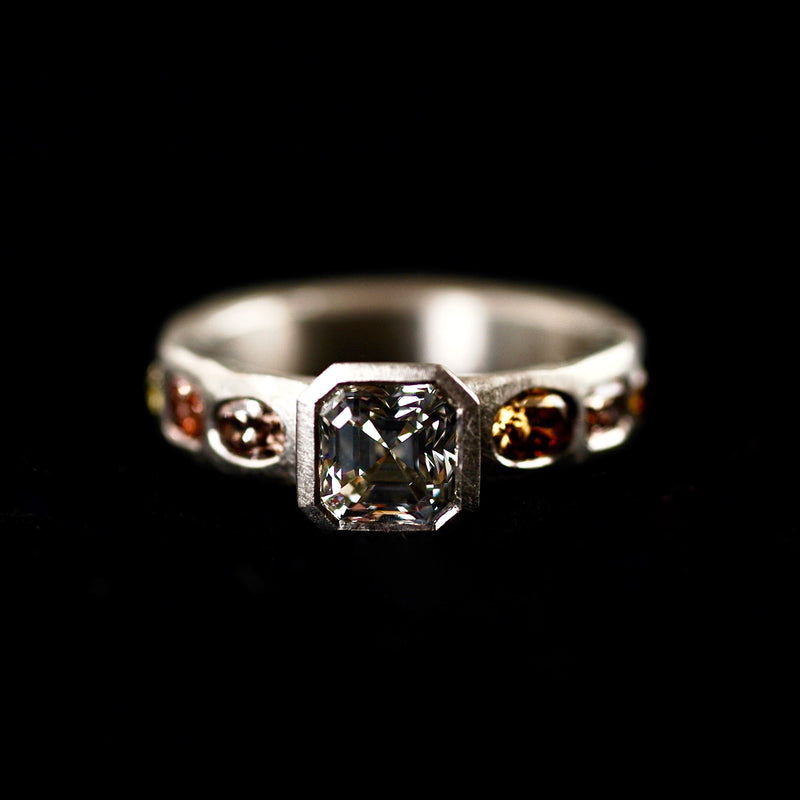 Platinum Ascher Cut Diamond Ring