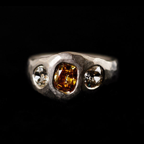 Orange Old Cut Diamond Ring