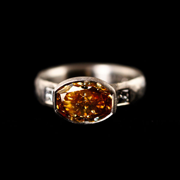 Natural Orangey Yellow Diamond Ring