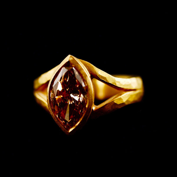 Split Band Brown Marquise Diamond Ring