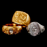 22ct Gold and Platinum Engraved Rings